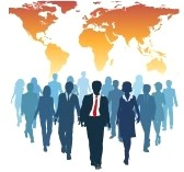 8661358-global-human-resources-business-people-work-team-walk-forward-from-world-map